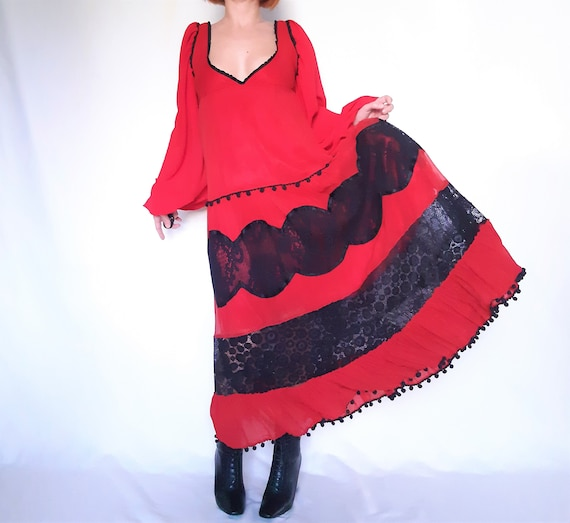 Red Maxi dress, lace detail dress, red vintage dr… - image 5