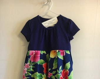 Tropical Flowers Girl's 5-T  Aloha Hawaiian Fabric with Cotton T- shirt Sun Dress for spring and summer