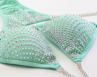 6e83e0dda8 Mint Green Competition Bikini with Cascading AB Crystal Design - 3 Bottom  Cut Options - NPC Bikini Suit - Pads Included