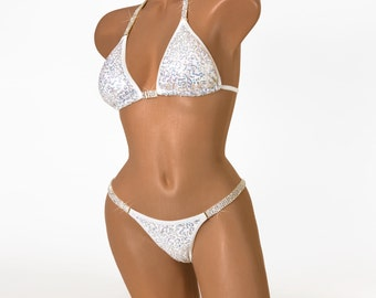 c60e5a30b5 Glamorous White with Silver Holographic Sequins NPC Bikini Competition Suit  - Exquisite Crystal Rhinestones