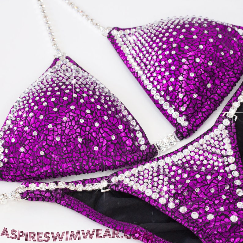 c8f890b399cfb Fuchsia Foil Avatar Competition Bikini with Crystal Outlined | Etsy