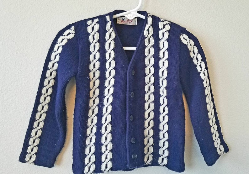 fd46afde9 1950s Blue Bird Knitwear Boys Navy and White Orlon Acrylic
