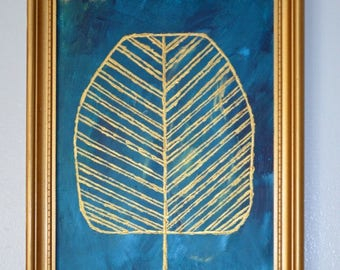 Framed abstract tree painting, Original painting on canvas board, Acrylic painting, Framed wall art