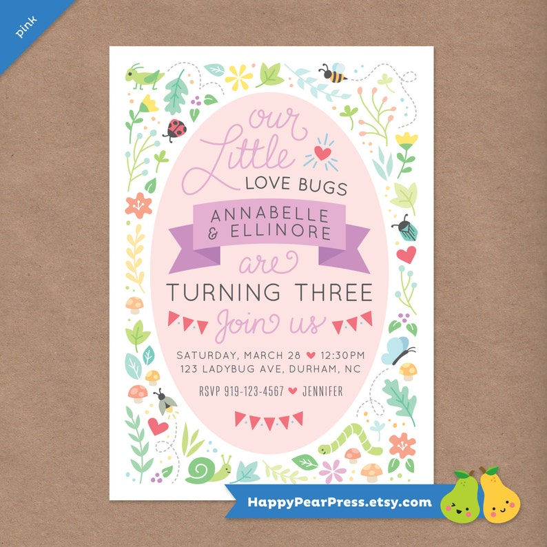 any age Twin Love Bugs Printable Birthday Party Invitation DIY Custom Printable Invite  Kids Party  Ladybug Bee Butterfly Bugs