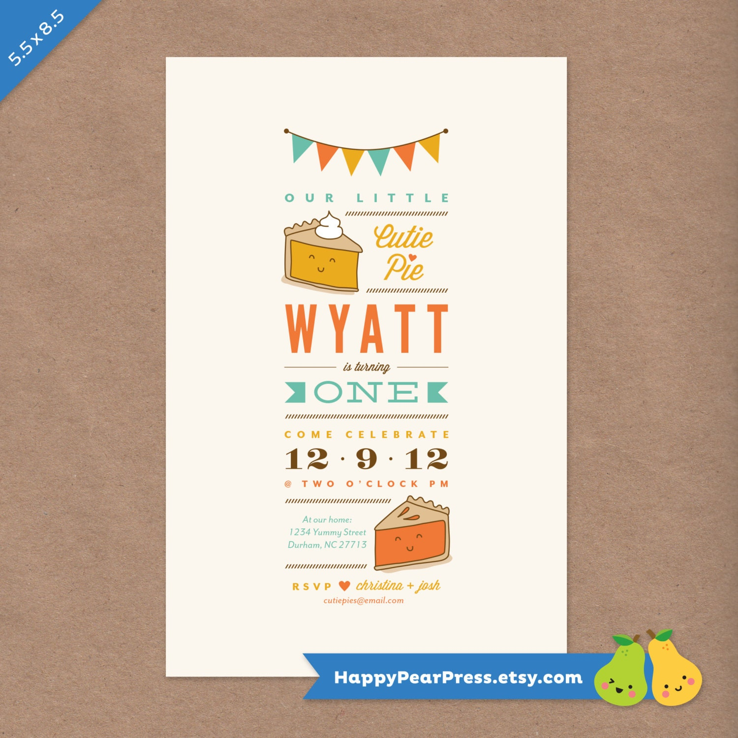 Cutie Pie Party Printable Birthday Invitation // DIY Custom | Etsy
