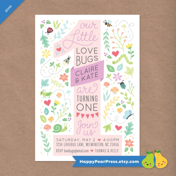Twin Love Bugs Printable 1st Birthday Party Invitation