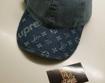 557e7d74 Custom Louis Vuitton/Supreme Denim Blue Adjustable Dad hat