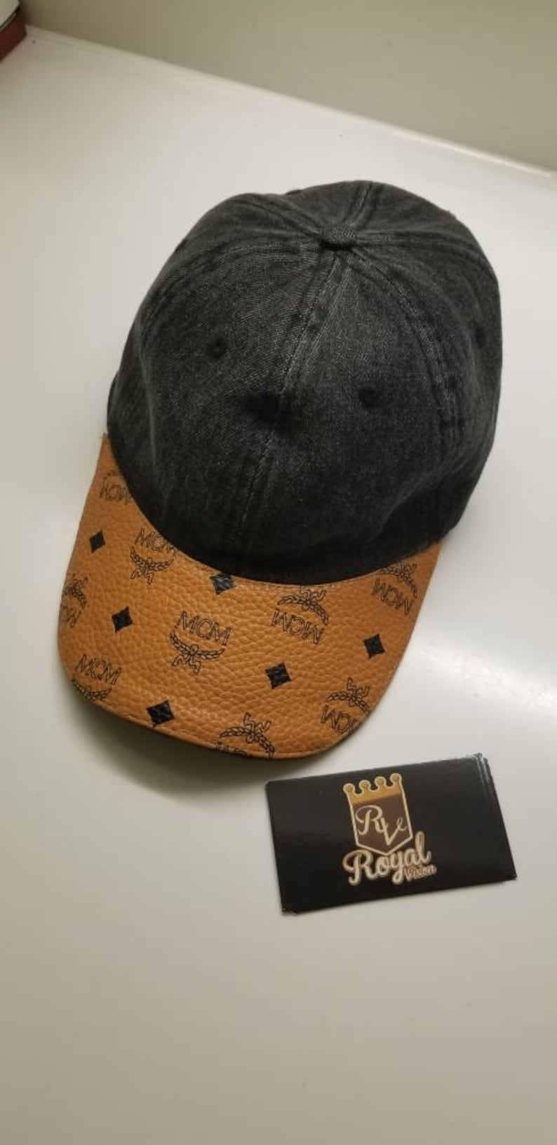 a8437aec Custom Black Denim Mcm Dad Hat with Adjustable Strap One | Etsy