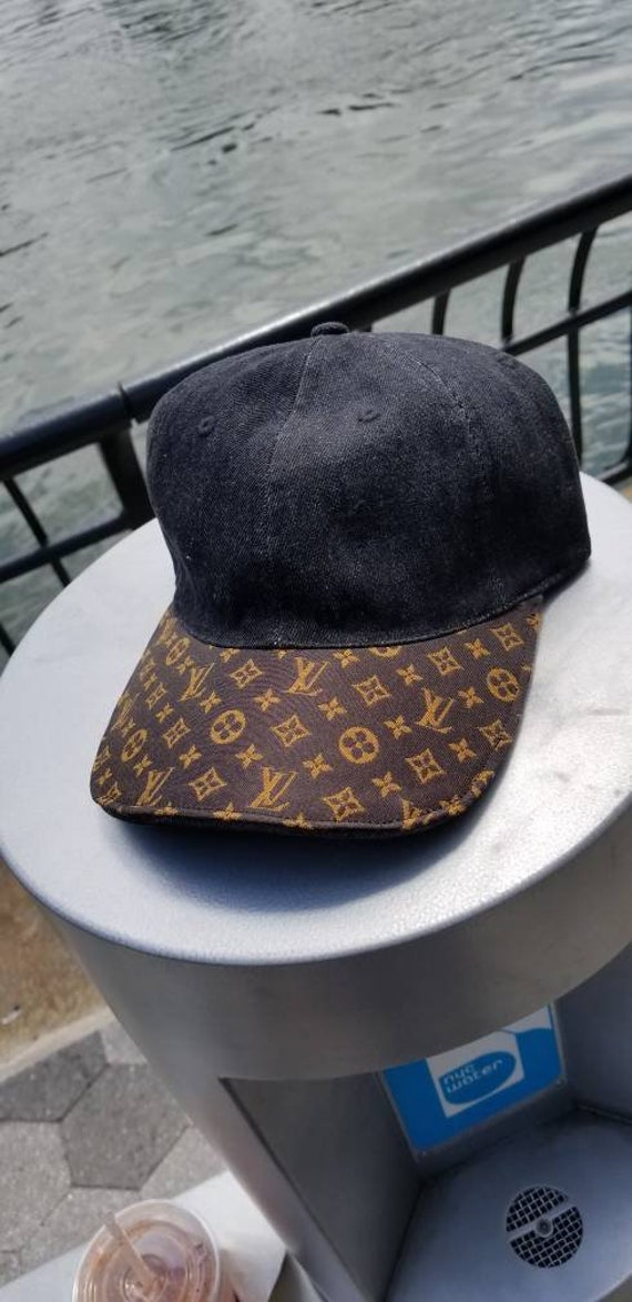 Custom Louis Vuitton Black Denim Hat with Adjstable Strap  85b03bbe40f