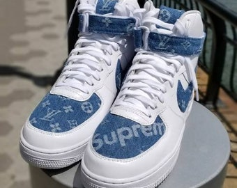 Custom Nike Air Force ones  Denim Supreme  Size 10.5 Brand new with box