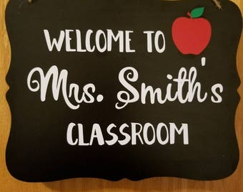 Personalized Teacher Classroom Sign Gift Chalkboard Door Decor Name