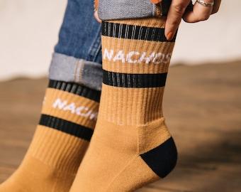 Nachos Striped Crew Socks, Unisex Nacho Socks, Funny Socks, Cool Socks, Mens Socks, Fun Socks Women, Crazy Socks, Funky Socks, Foodie Gifts