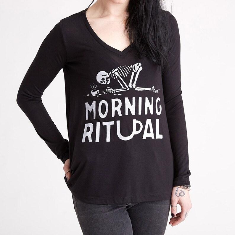 a43b387896f2c Funny Coffee Shirt Morning Ritual Long Sleeve Tshirt Shirts