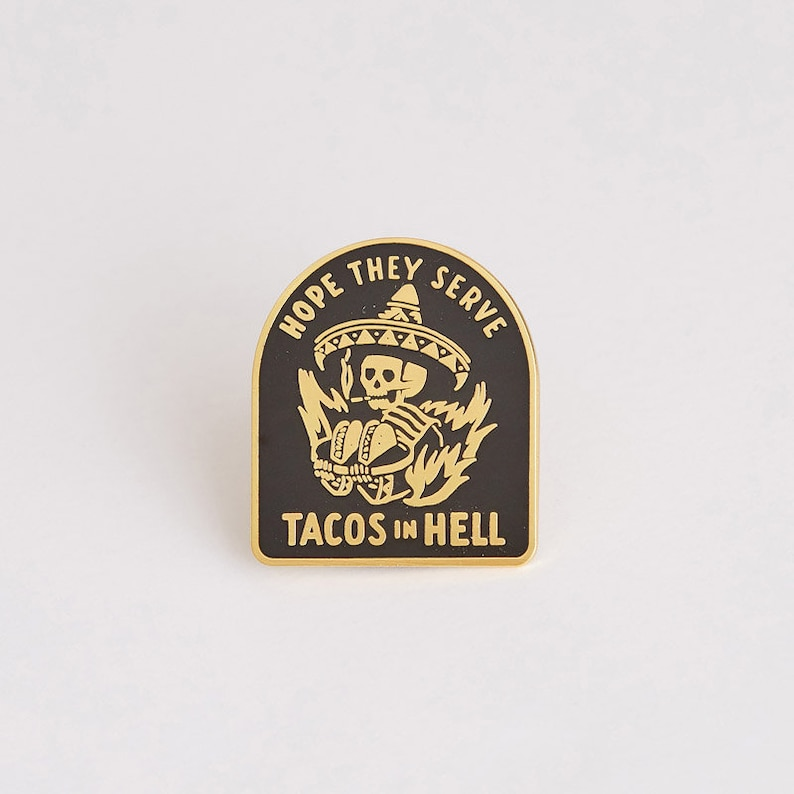 559453ba1f7657 Day of the Dead Lapel Pin Cinco de Mayo Hell Taco Pin