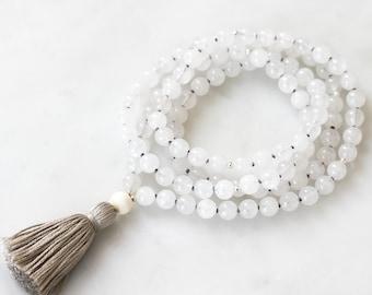 Quartz Mala Necklace | HEAL | mala beads 108 necklace, mala tassel necklace, beaded yoga mala, crystal necklace, yoga 108 gemstone necklace