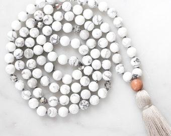 Calm Mala Necklace | mala beads, mala tassel necklace, gemstone necklace, crystal necklace, boho jewelry, gift for her, yoga jewlery howlite
