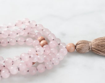 Love Mala Necklace | mala beads, tassel necklace, rose quartz necklace, crystal necklace, yoga gift for her, gemstone necklace, yoga jewelry