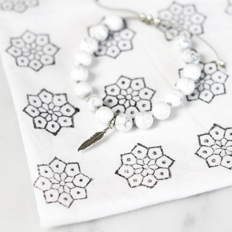 gemstone mala beads women/'s beaded bracelet mala CALM yoga bead bracelet beaded gemstone bracelet Howlite Mala Bracelet gift for her