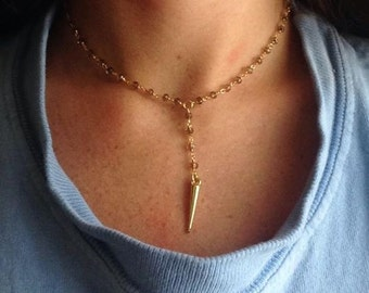 Smoke and Gold Beaded Rosary Chain with Gold Spike Pendant