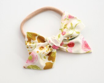 Floral bow nylon baby headband, fall bow headband, baby girl headband, tied bow headband, big bow, bows for babies, school girl bow