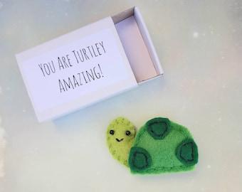 Cute Turtle Gifts, You Are Turtley Amazing! Matchbox Keepsake, Funny Pun Boyfriend / Girlfriend Gift
