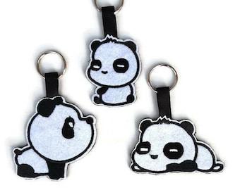 Panda Keyring, Cute Keychain, Felt Animals, Bag Charm, Luggage Identifier, House Keys, New Home Gifts