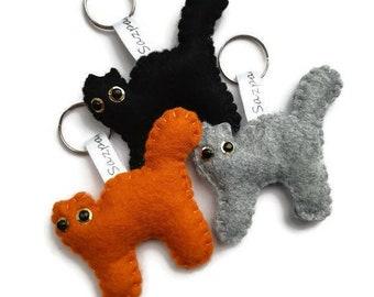 Felt Cat Keyring, Ginger Cat, Letterbox Gifts, School Bag Tag