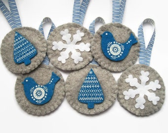 Scandinavian Christmas Decorations, Birds, Trees, Snowflakes, Set of 6, Blue & White Felt Tree Ornaments, Handmade Rustic Decor
