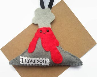 I Lava You, Valentines Gift, Felt Volcano, Gifts for Boyfriend, Cute Decorations, Friendship Love Gifts, Handmade