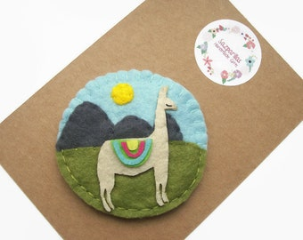 Llama Magnet, Llama Gifts, Gifts for Couples, Felt Fridge Magnet, Ooak Kitchen Accessories, Handmade by Sazparillas