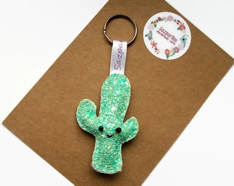 Glitter Cactus Keyring, Succulent Gifts, Cactus Gift, Succulent Keychain, Plush Bag Charm