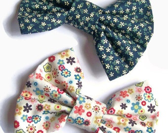 Large Hair Bow, Floral Hair Clips, Big Fabric Hair Bows for Teens & Girls, Floral Hair Accessories