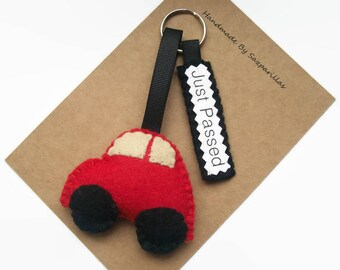 New Driver Keychain, Car Keyring, Congratulations Gift, Driving Test, Just Passed