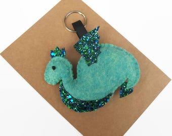 Felt Dragon Keychain, Green Dragon Plush Keyring, Cute Fantasy Creatures, Dragon Love