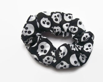 Skull Accessories, Gothic Hair Scrunchies, Monochrome Design, Black and White Elastic bobbles, Gifts for Her
