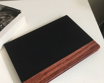IPAD 10.5  case , herringbone leather and hand polished rosewood accent