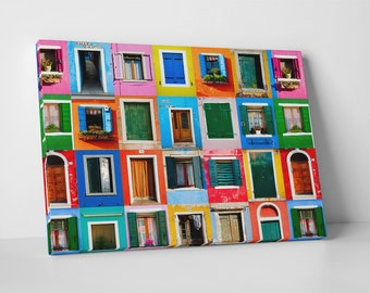 Colorful Windows Collage. Gallery Wrapped Canvas Print