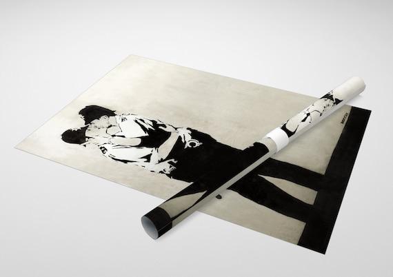 "Kissing Cops Archival Canvas Print 30/""x20/"" Banksy"