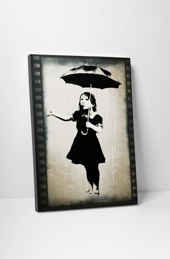 Banksy Girl With Umbrella Gallery Wrapped Canvas Print