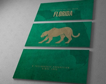 Florida State Panther Gallery Wrapped Canvas Triptych Print