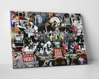 Banksy Collage Gallery Wrapped Canvas Print. BONUS WALL DECAL!
