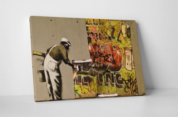 Graffiti Wallpaper Hanging By Banksy Gallery Wrapped Canvas