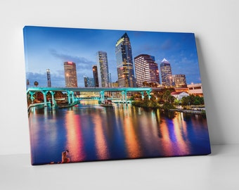 Tampa Florida Downtown Night Skyline Gallery Wrapped Canvas Print