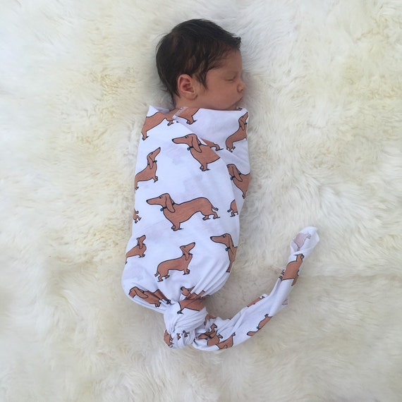 2d53f227a Here, pup! SWADDLE | dog swaddle | baby blanket | dachshund | newborn  swaddle | cotton jersey swaddle