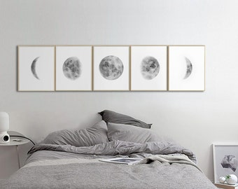 Moon Phases Prints Wall Art, Set Of 5 Watercolor Lunar Phases Moon Art  Print, Grey Black Watercolor Prints Home Decor, Bedroom Wall Art