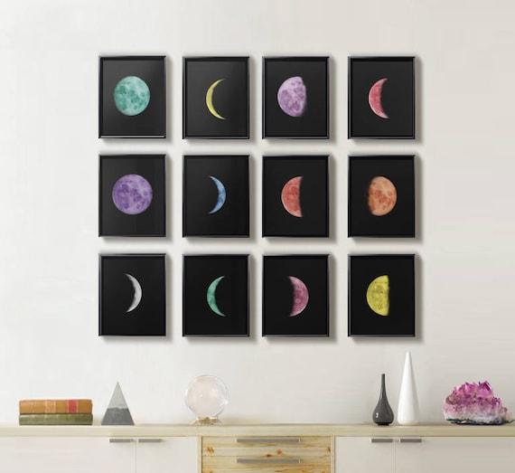Mond phasen drucke satz von 12 drucke wohnzimmer wand for Wand kunst wohnzimmer