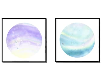 abstract painting, watercolor painting print, set of 2 piece wall art