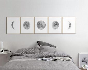 Moon Phases Prints Wall Art, Above Bed Art, Boho Wall Art, Set of 5 Lunar Phases Print, Grey Black Watercolor Prints Set,  Bedroom Wall Art