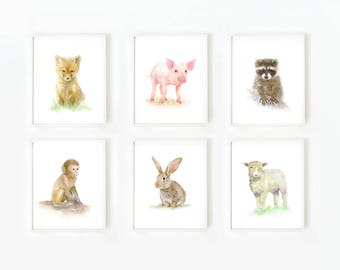 Animal Prints, Nursery Decor,  Nursery Wall art, Animal Art, Animal Print, Kid's Wall Art, Set of 6 Prints