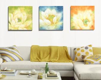 Canvas Art Prints, 3 Piece Wall Art, Watercolor Print, Flower Art, Wall Art, Set Of Prints, Stretched Canvas Art